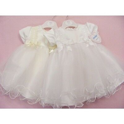 Kinder Ivory-White Occasion Wedding/party Twirl Hem Frilly Dress Satin Bows