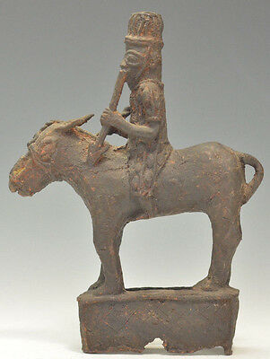 Africa Benin Heavy Bronze Copper Cast: Equestrian Soldier Horse and Rider 8''
