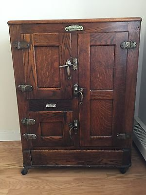 Vintage Antique Oak Polar King Ice Box Refrigerator