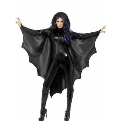 LADIES Halloween Black Vampire BAT WINGS CAPE with High Collar Fancy Dress