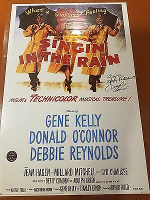 SINGIN IN THE RAIN Poster Gene Kelly Debbie Reynolds signed by Donald O'Connor