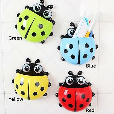 Lovely Cup Pocket Bathroom Toothbrush Holder Cute Ladybug Wall Suction Supporter