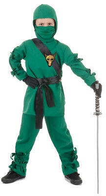 Ninja Child Boys Green Costume Mask & Hooded Shirt Fancy Dress Up Underwraps