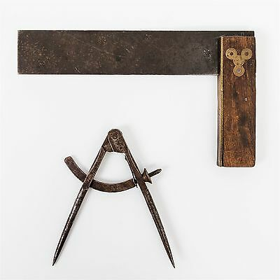 Antique Pair of Cast Iron Woodworking Tools Compass and Angle Rustic Hand Held
