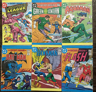 Lot of 6 The Secret Origin #1 mini comic books - Batman, Green Lantern, Flash..