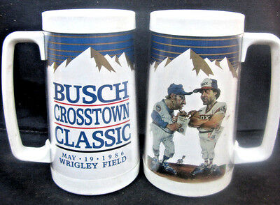 2 1986 Busch Beer Crosstown Classic Thermo Mugs Chicago Cubs White Sox Wrigley