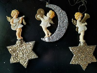 3 Vintage German Celluloid & Mica Moon & Stars Angel Band Christmas Ornaments