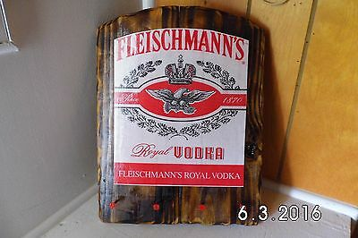 Handmade Rustic Wooden Fleischmann's Royal Vodka Bar Sign Key Holder Original