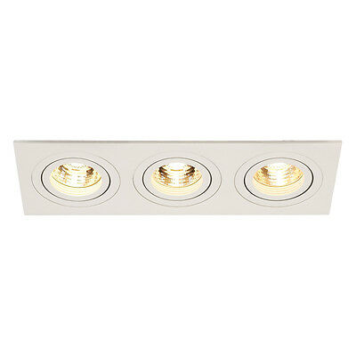 Intalite NEW TRIA III GU10 downlight, rectangular, matt white, 3x50W