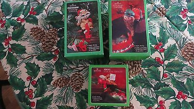 Set of 3 Hallmark Stocking Hangers-Raccoon, Angel and Elf In Box