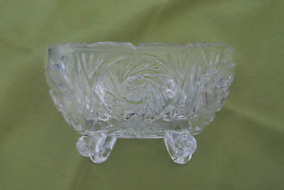 American Brilliant Cut Glassware Four-Footed Dish Star of David Pinwheel
