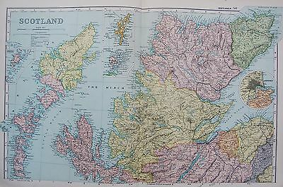 1906 Large Map Scotland North Inverness Ullapool Thurso Islands