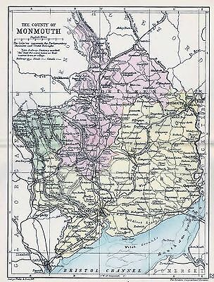 1889 Antique County Map Parliamentary Div. Monmouth