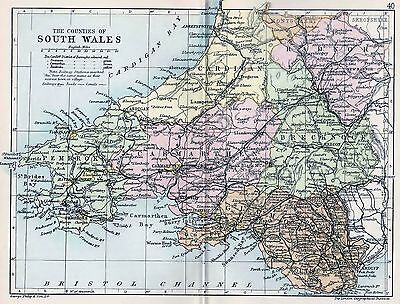 1889 Antique County Map Parliamentary Div. South Wales