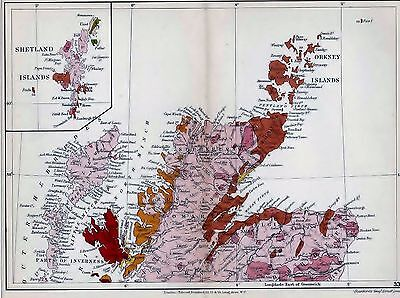 1904 Geological Map Stanford Scotland Highlands And Islands