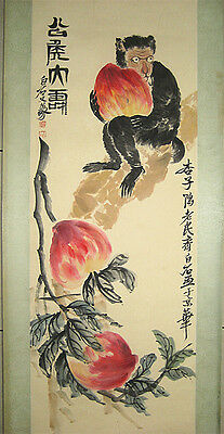 Excellent Chinese Hand Painting Peach and Monkey By Qi Baishi齐白石 猴子和寿桃