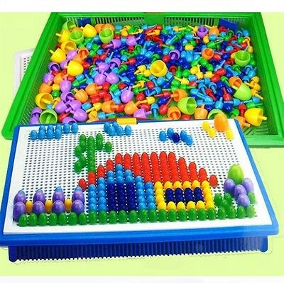 Creative Kids Children DIY Mosaic Toys Puzzle Grain Mushroom Beads Nail Gifts