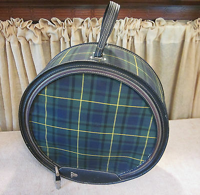 Vintage Atlantic Products Co. Green Plaid Hat Box w/extras - Trenton New Jersey