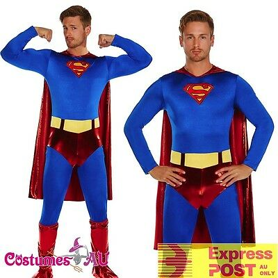 Adult Superman Chest Super Hero Halloween Mens Costume Outfits Fancy Dress