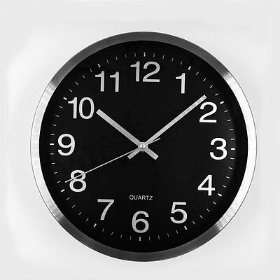 Modern Kitchen School Classroom Metal Wall Clock Without Ticks Silent Round 12""