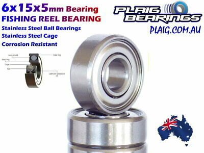 6x15x5mm Fishing Reel Bearing Stainless Steel Balls / Cage Corrosion Resistant