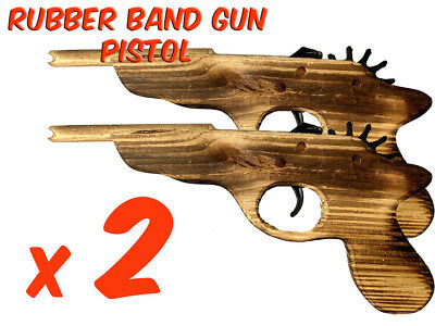 2 x Rubber Band Timber Pistol Gun Launcher Wooden Toy BRAND NEW