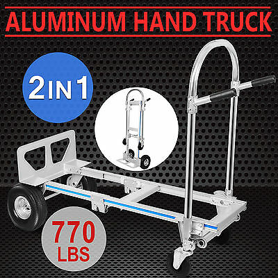 2in1 Aluminum Hand Truck Dolly Utility Cart Collapsible 4 Solid Rubber Wheels