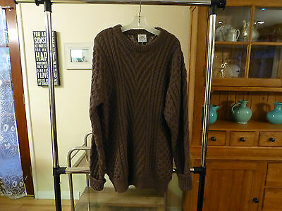 Vintage Bonner of Ireland Wool Cable Knit Fisherman Sweater.  Men's L.  Brown.