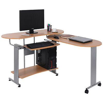Compact Folding Computer Desk w Shelf Home Office Workstation - FDS Furniture