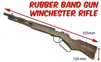 Rubber Band Gun Winchester Rifle Gun Launcher Wooden Toy BRAND NEW