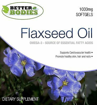 1000mg Flaxseed Oil  Omega 3 6 9 Flax Seed Linseed Oil Softgels Better Bodies
