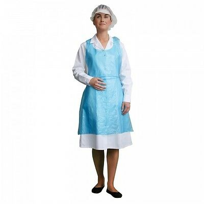 Disposable Plastic Aprons Blue Polythene Aprons Medical Labs Flat Pack of 100...