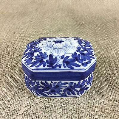 Vintage Chinese Blue & White Trinket Box Hand Painted Lidded Pot Peony Flower
