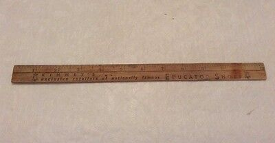 """Vintage Wood 12"""" Ruler Kinney's Educator Shoes - Used For Promo Advertising"""