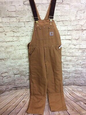 NEW NWT MENS CARHARTT BIB QUILTED OVERALLS Tan 32 X 32