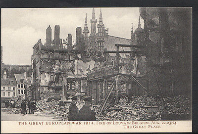 Belgium Postcard - The Great European War 1914 - Fire of Louvain  RS1861