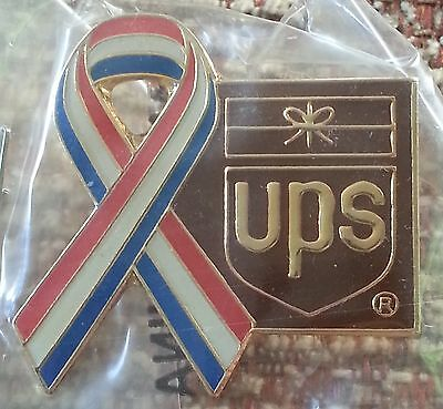 United Parcel Service (large) Red, White, & Blue Ribbon with UPS Logo Lapel Pin