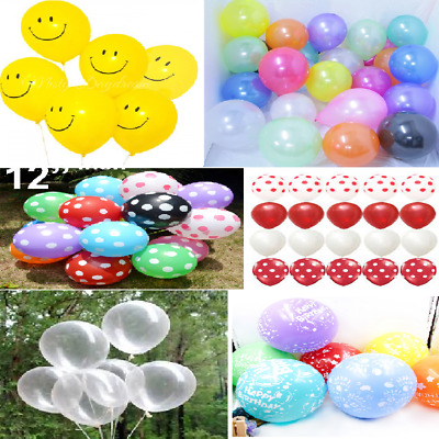 Smiley Face, Polka Dot, Plain, Metallic , Birthday, Clear Latex Balloons Party