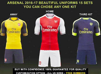 Arsenal soccer uniform 15 sets Home away Third kit in all US Sizes Free Numbers