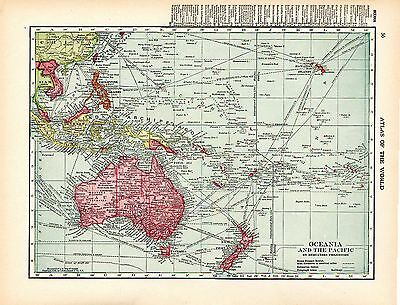 1911 ORIGINAL MAP Oceania Australia the Pacific HAMMOND ATLAS