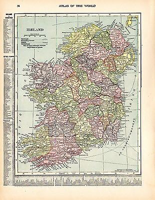 1912 TWO ORIGINAL MAPS Ireland and Scotland CRAM ATLAS