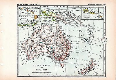 1928 ORIGINAL MAP of AUSTRALIA and MELANESIA Winston Atlas Poates