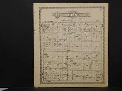 Kansas, Kingsman County Map, Richland & Valley Townships  Dble Sided 1915 K8#69