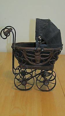 Vintage Miniature Pram, Baby Stroller / Antique Baby Buggy Rattan and Metal #mp2