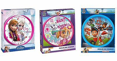 "Disney Paw Patrol characters wall 10"" clock children kids bedroom Pink Blue gift"
