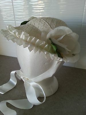 Vintage Woman's White Easter Bonnet / Hat with Flowers & Ribbon