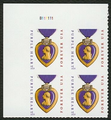 #5035 Purple Heart, Plate Block B111111, Mint **ANY 4=FREE SHIPPING**