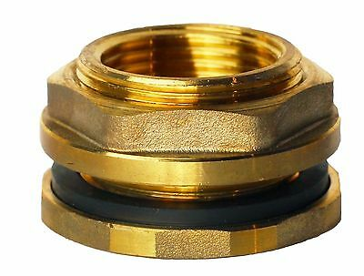 "RAINPAL F075LFLH Brass Bulkhead Tank Fitting 3/4""Female,Left Handed Nut"