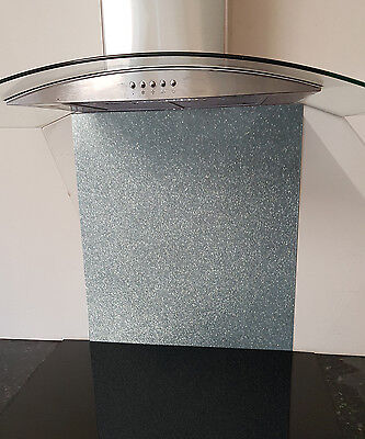 Toughened Glass Splashback in Silver Glitter 600x750mm or custom size