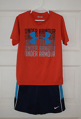 Under Armour and Nike Boy's Outfit - Heatgear Shirt and DriFit Shorts - Size 7